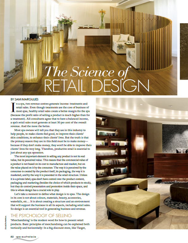 Spa Australasia Article: Science of Spa Retail Design
