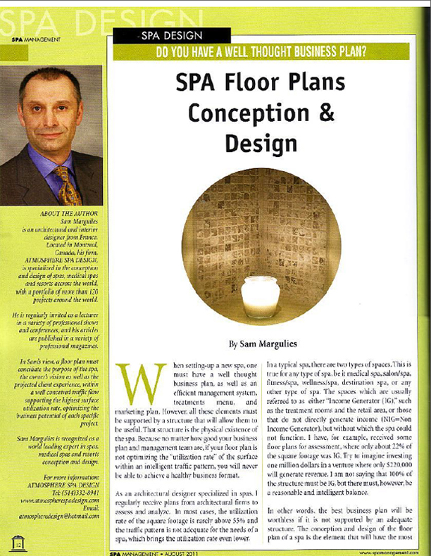 Spa Management Magazine Article: Spa Floor Plans Conception and Design